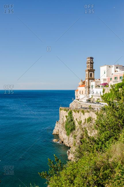 Panoramic View Of Atrani, A Little Fishing Village On Amalfi Coast, Italy.