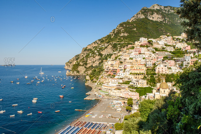 Panoramic View Of Positano, Ancient Village On Amalfi Coast, Italy.