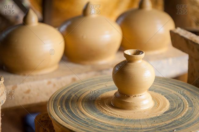 Kompong Chnang, Cambodia - 06 October 2013: Hand Made Pots Are A Specialty Of Kompong Chnnang Because Of The Local Clay Because Of The Local Clay.