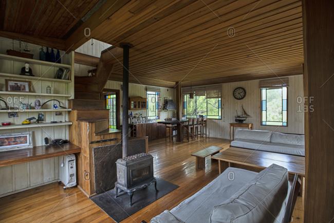 Interior view of stilt hut