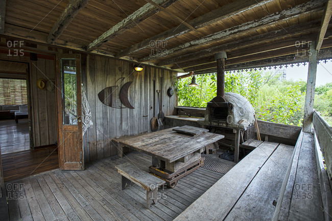Interior view of stilt hut