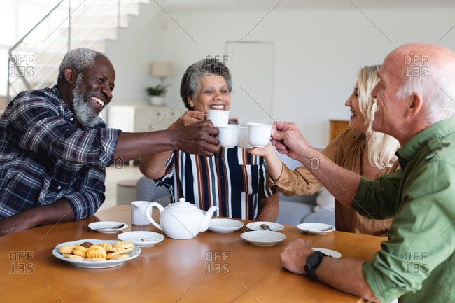 Senior caucasian and African American couples sitting by table drinking tea at home. senior retirement lifestyle friends socializing.