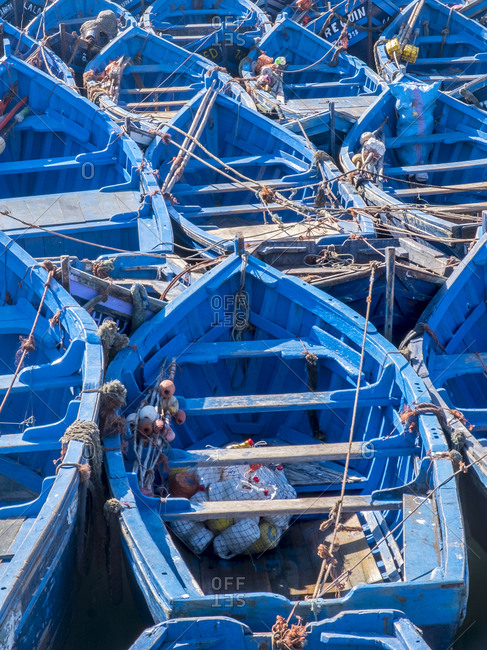 Fishing blue boats and equipment in Essaouira Morocco