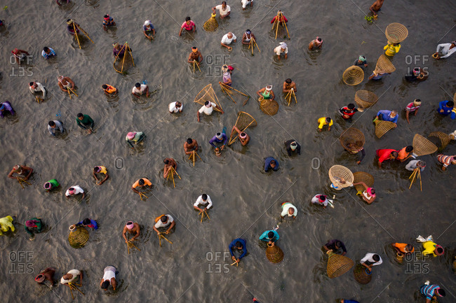 December 5, 2020: Aerial view of hundreds of villagers, fishermen take part traditional fishing festival in Pabna, Bangladesh.