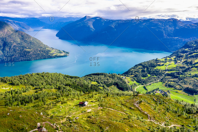 Aerial view of the Lustrafjord, the inner Sognefjord, over slopes of Mt. Molden, Norway.