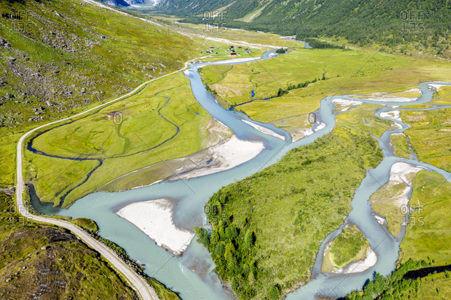 Aerial view of a road from Hafslo to valley Langedalen at glacier Jostedalsbre, Sognefjord region, Norway.