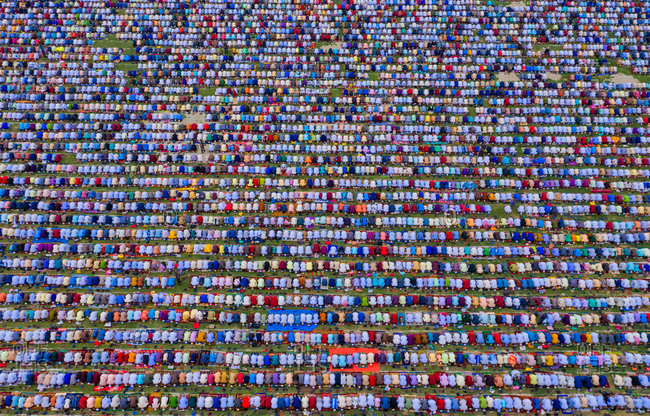 Aerial view of South Asia's largest Eid-ul-Fitr Congregation held in Gor-e-Shahid Boro Math, Dinajpur, Bangladesh.