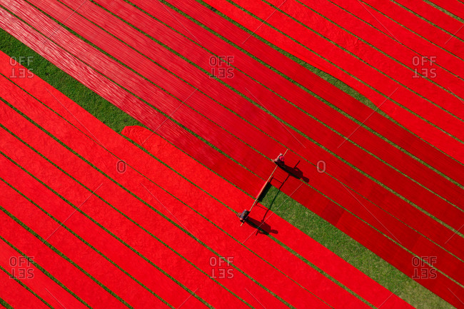 Aerial view of Hundreds of meters of newly dyed, bright red cotton are rolled out to dry in the sun in Narsingdi, Bangladesh.