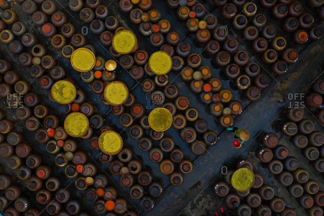 Aerial view of traditional soy sauce making since its founding more than 400 years ago in Ban village, Hung Yen province, Vietnam.