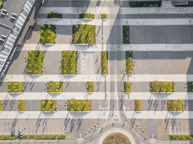 Aerial view of town square in Naujoji Akmene, Lithuania