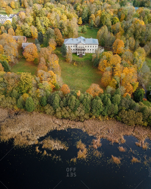 Aerial view of abandoned manor in Plikiai, Lithuania