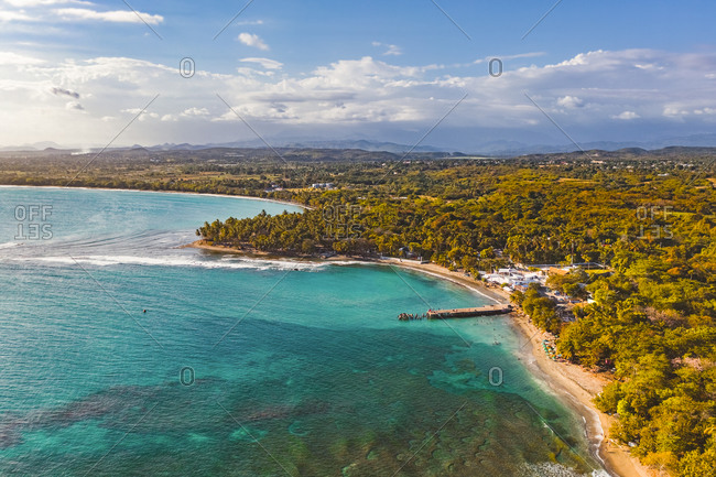 Aerial view of Palenque beach in the golden hour, San Cristobal, Dominican Republic