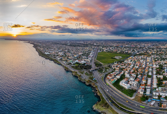 Aerial view of a junction with the Juan Carlos bridge of two main highways in Santo Domingo Este, Dominican Republic