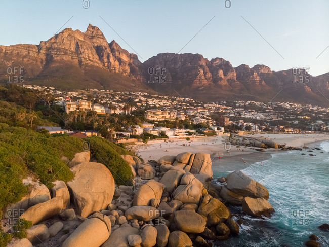 Aerial view Table Mountain from Camps Bay beach Cape Town, South Africa
