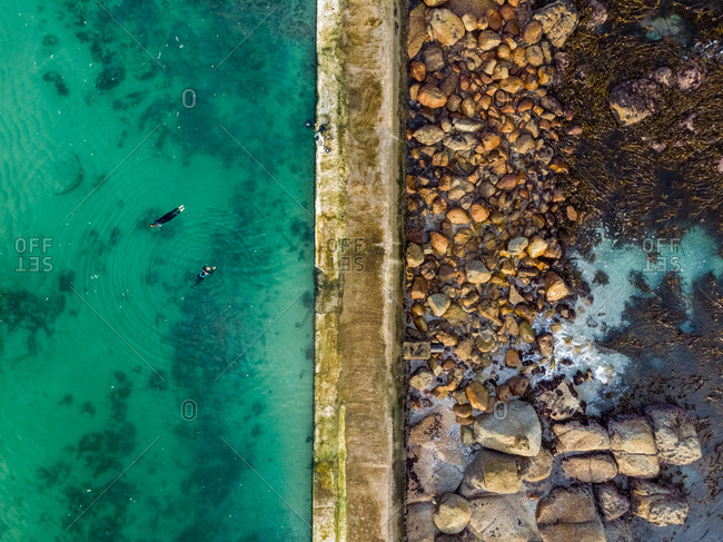 Aerial view Camps Bay Tidal Pool, Cape Town, South Africa