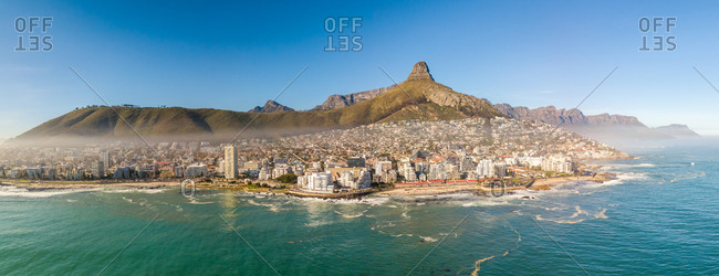 Panoramic aerial view of Lions Head and Table Mountain from  Sea Point Cape Town, South Africa