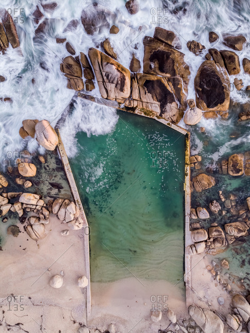 Aerial view of Maidens Cove tidal pool, Cape Town, South Africa.