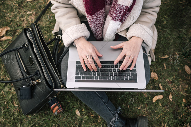 Young woman with laptop sitting on grass with bird's eye view