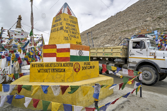 Ladakh, India - July 31, 2017: The Monument at Chang La Pass on the Leh-Pangong Tso road