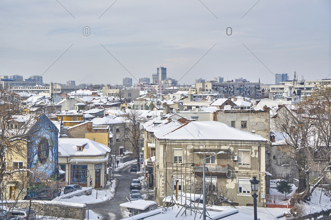 Plovdiv, Bulgaria - January 13, 2017: Panoramic view of the city of Plovdiv in winter