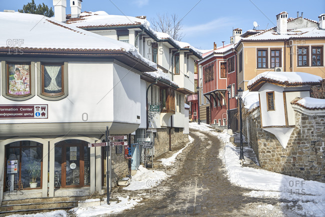 Plovdiv, Bulgaria - January 13, 2017: A cobbled street in the historic old town of Plovdiv