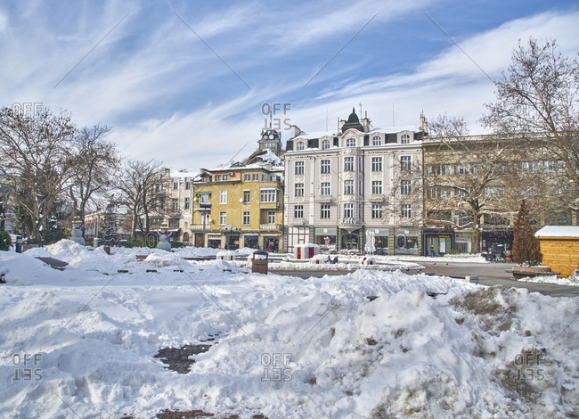 Plovdiv, Bulgaria - January 13, 2017: Central pedestrian zone in the downtown of the city of Plovdiv in winter