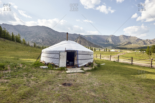 A yurt in the Gorkhi-Terelj National Park in Mongolia early in the morning