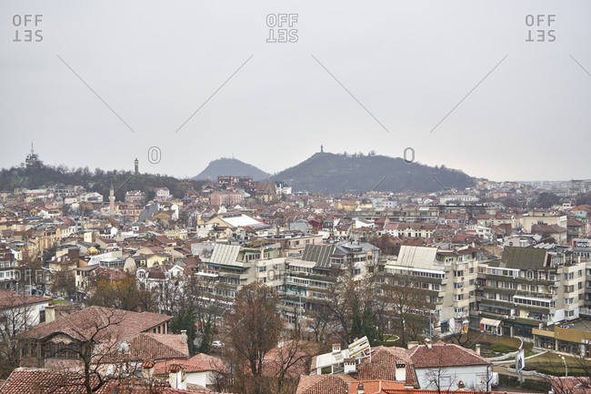 Plovdiv, Bulgaria - January 13, 2018: Panoramic view of the city of Plovdiv in winter