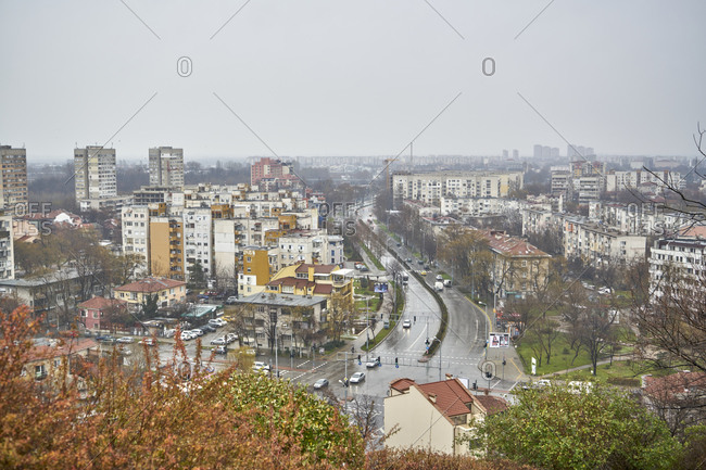 Plovdiv, Bulgaria - January 13, 2018: Panoramic view of the city of Plovdiv on a rainy winter day