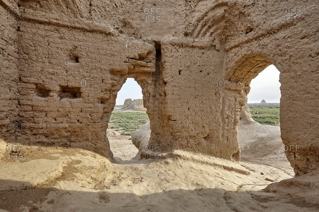 Inside the little Kyz Kala, a part of Sultan Kala in the ancient Merv, Turkmenistan