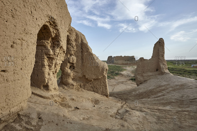 Remains of the little Kyz Kala, a part of Sultan Kala in the ancient Merv, Turkmenistan