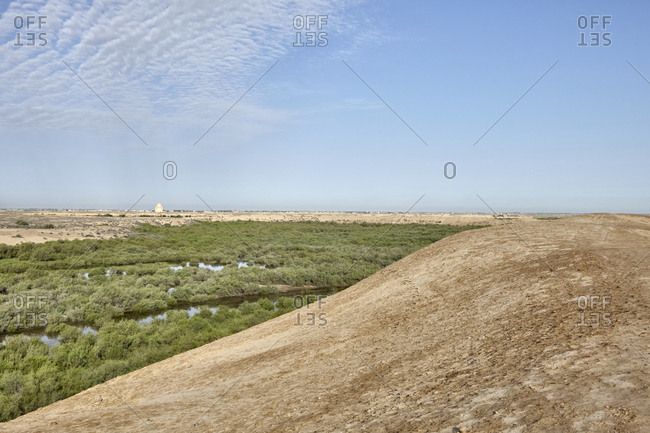 Desert, hills and swamps surrounding ancient Merv, Turkmenistan