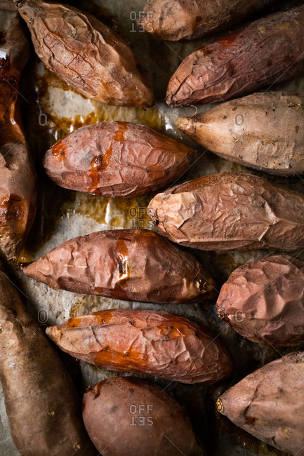 Baked sweet potatoes fresh from oven