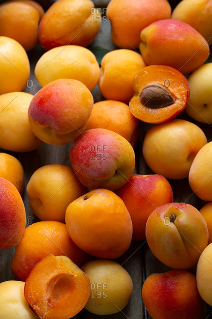Overhead view of apricots background