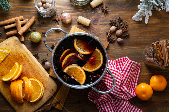 Overhead view of Pot of mulled wine