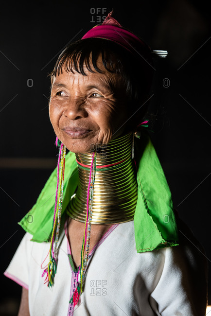 PADUANG PEOPLE,  HILL TRIBE, PAN PET VILLAGE, KAYAH STATE, MYANMAR - 24 January 2017: Portrait of local lady wearing brass coils placed around the neck, appearing to lengthen it.
