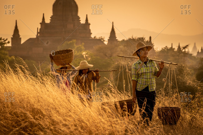 SUNSET, TEMPLES OF BAGAN, MYANMAR - 31 January 2018: Workers carrying baskets away from iconic Bagan temple shape at sunset.
