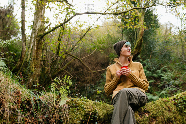 Carefree female adventurer sitting with cup of hot drink on mossy tree trunk in green forest and enjoying nature during travel