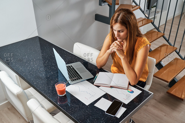 Serious female entrepreneur sitting at table and writing plans in organizer while working remotely from home on laptop