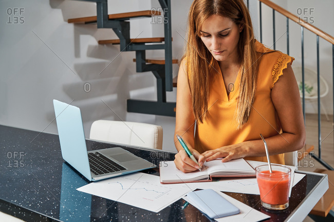 Serious female entrepreneur sitting at table and writing plans in organizer while working remotely from home