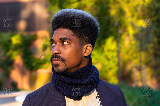 Pensive African American male with curly hair and in stylish outfit standing in urban park on sunny day and looking away