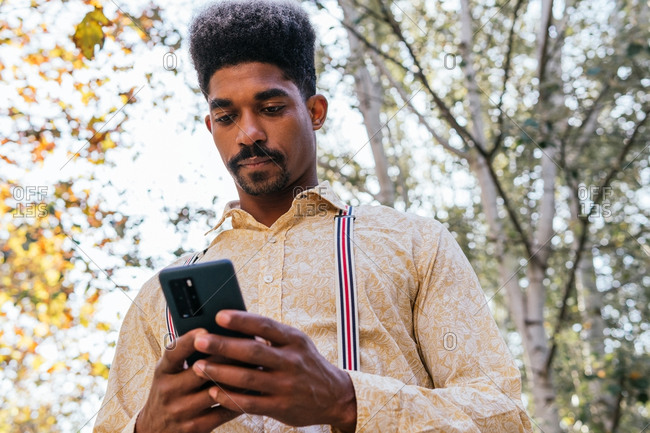 Low angle of focused adult African American bearded male in stylish casual outfit browsing on smartphone while standing in autumn park in sunny day