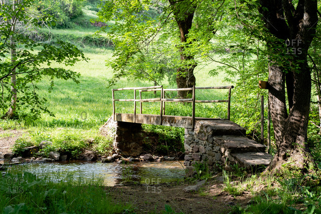 Scenic view of old stone bridge above calm river on sunny day in green woods in summer
