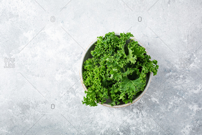Overhead view of kale in bowl