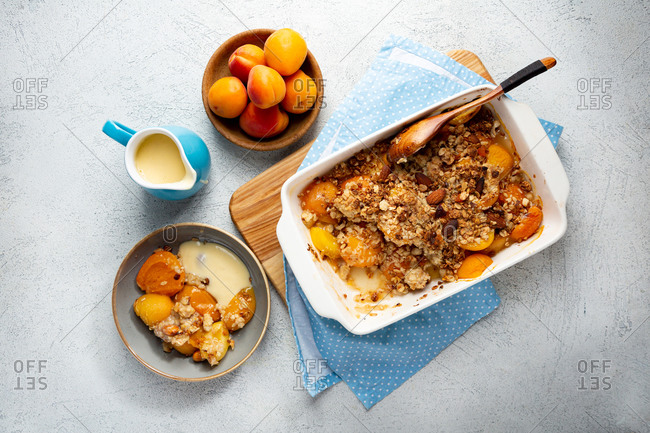 Homemade peach granola crumble breakfast