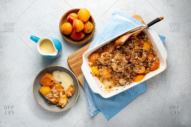 Homemade peach granola crumble breakfast
