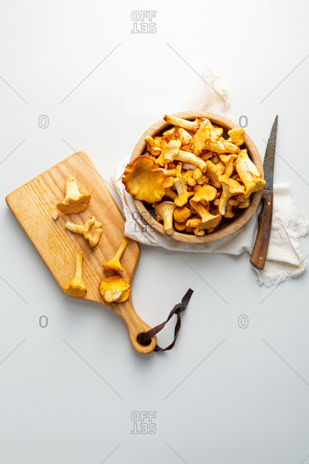 Overhead view of chanterelle forest mushrooms