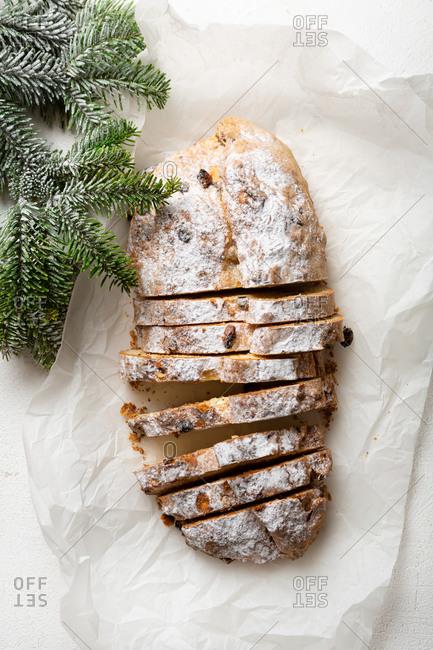 Christmas loaf cake on light table