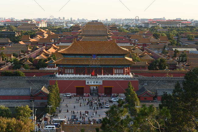 Beijing, China - October 4, 2020: Aerial view of people and architecture of the Forbidden City
