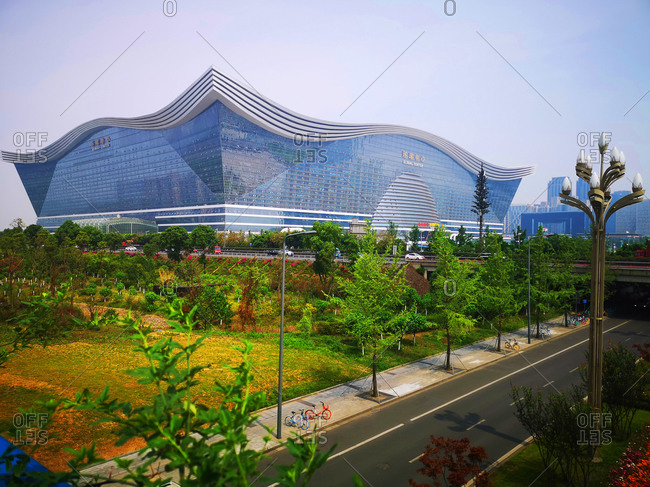 Chengdu, Sichuan Province, China - May 23, 2020: Modern exterior of the New Century Global Center multipurpose building in the Tianfu New Area of Chengdu
